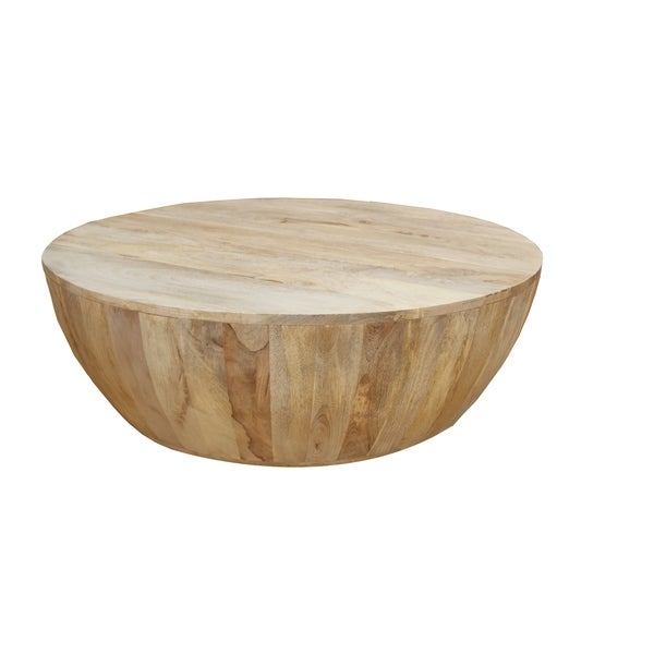 Distressed Mango Wood Coffee Table in Round Shape, Washed Light Brown