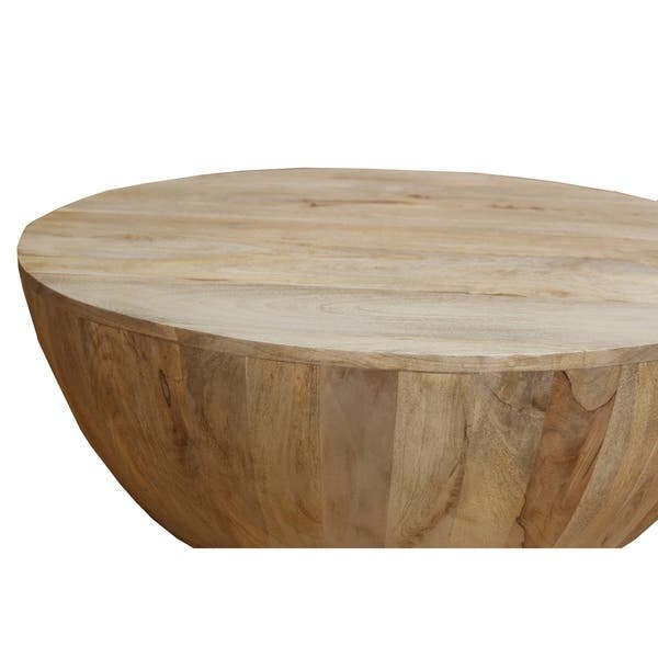 Shop Distressed Mango Wood Coffee Table In Round Shape