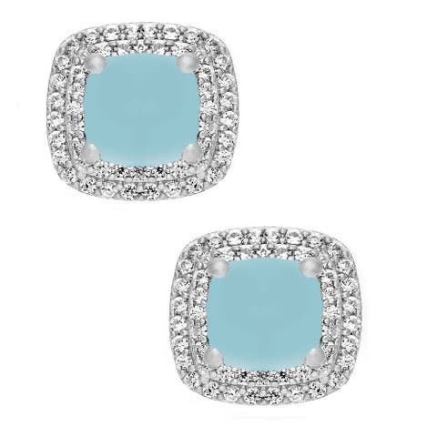 Sterling Silver with Aquamarine and White Topaz Double Halo Stud Earring