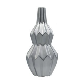 Carbon Loft Ceramic Silver Bellied Round Vase with Narrow Lip