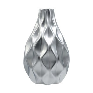 Urban Trends Ceramic Round Bellied Vase with Narrow Mouth and Embossed Wave Design in Matte Finish - Silver