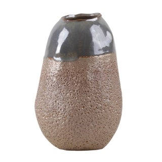 Urban Trends Ceramic Cocoon Shape Vase with Gray Iridescent Top in Sponge Texture Design Body in Coated Finish, Small - Blush