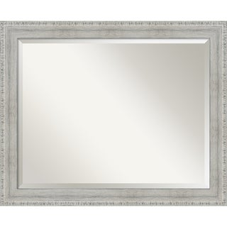 Rustic Whitewash Wood Wood Wall Mirror - White Wash