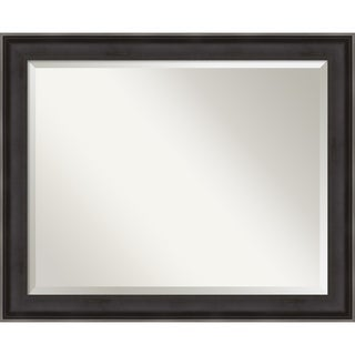 Allure Charcoal Wood Wall Mirror - Black