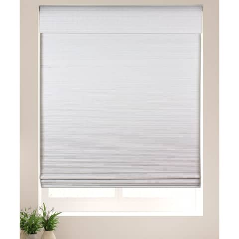 Arlo Blinds Semi-Privacy White Bamboo Shades with 74 Inch Height