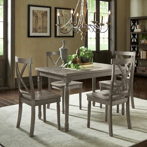 Dahlia Reclaimed Wood Grey Finish 5 Piece 48 Inch Dining Table Set By Inspire