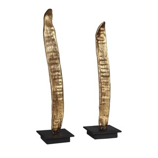 Uttermost Poinciana Antiqued Gold Pod Sculptures (Set of 2)
