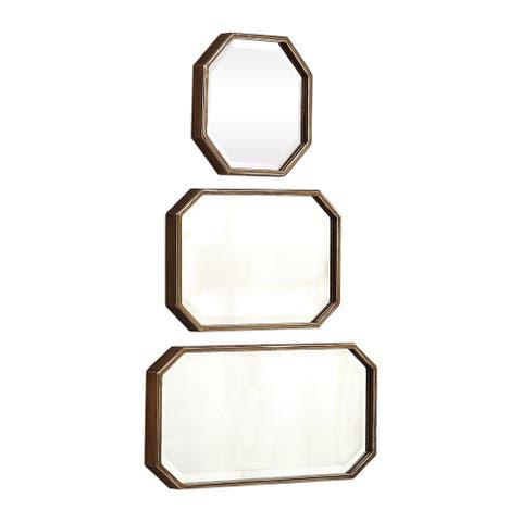 Uttermost Trois Distressed Metallic Gold Mirrors (Set of 3) - 10x20x1.5