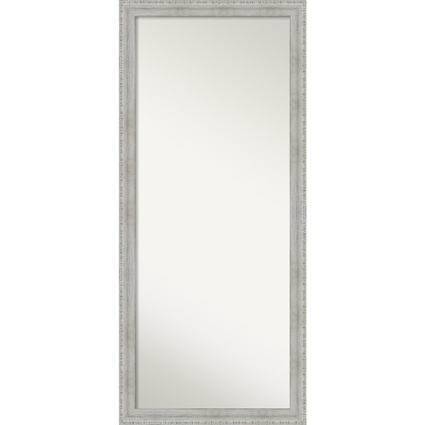 Rustic Whitewash Wood Floor / Leaner Mirror - White Wash - 64.38 x 28.38 x 1.058 inches deep