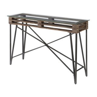 Uttermost Ryne Black and Distressed Industrial Console Table