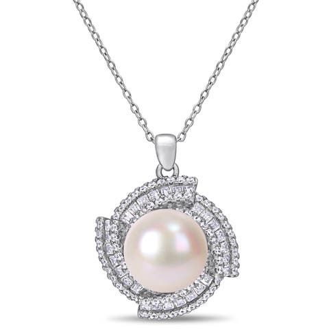 Miadora Sterling Silver Cultured FW Pearl and CZ Swirl Halo Necklace (12-13 mm)