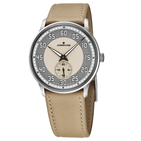 Junghans Men's 027/3608.00 Meister Driver Anthracite/Sand Dial Sand Leather Strap Winding Automatic German Made Watch