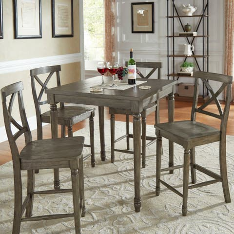 f304fd9e6dde Dahlia Reclaimed Wood Grey Finish 5-piece Counter Height Table Set by  iNSPIRE Q Artisan