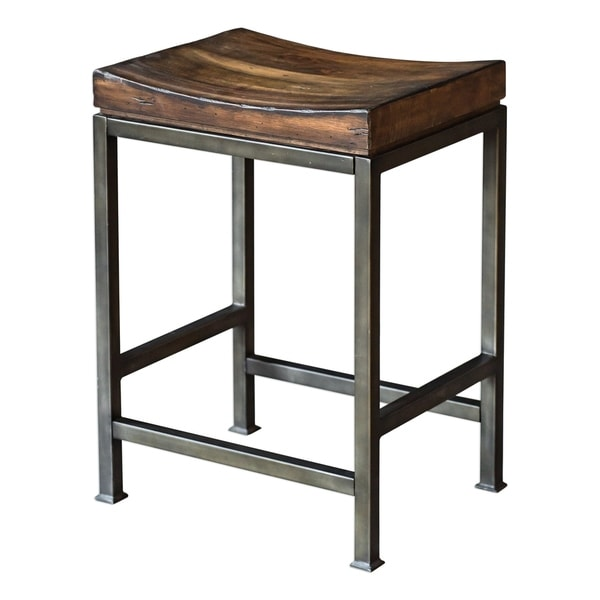 Uttermost Beck Dark Walnut and Brushed Steel Wood Counter Stool. Opens flyout.