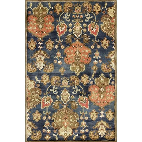 Copper Grove Schwaz Hand-tufted Traditional Navy Wool Area Rug