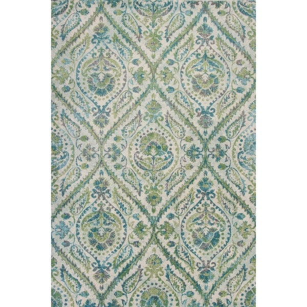 Domani Kai Ivory/Teal Traditional Medallion Area Rug