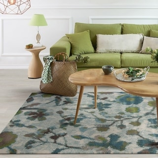 Domani Kai Teal Botanical Watercolors Area Rug