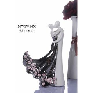 "Matrimony Porcelain Figurine in Polished Gunmetal & White Finish - 8.5""L x 4""W x 13""H"