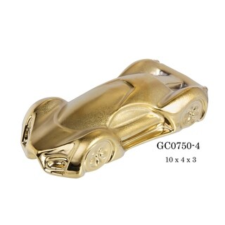 """Contemporary Racer Porcelain Figurine in Brushed Gold Finish - 10""""L x 4""""D x 3""""H"""