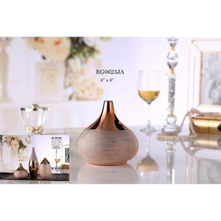 Decorative Porcelain Vases in Polished Bronze Finish & Textured Accents