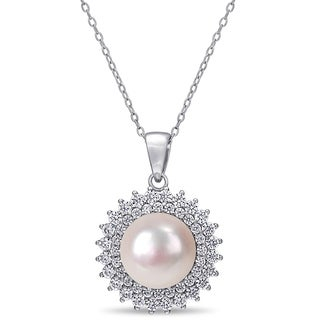 Miadora Sterling Silver Cultured FW Pearl Floral Halo Necklace 10 11 Mm