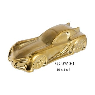 """Mid-Century Racer Porcelain Figurine in Brushed Gold Finish - 10""""L x 4""""D x 3""""H"""