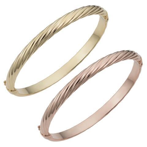 14k Yellow or Rose Gold 5.7 millimeter Polished Twisted Bangle Bracelet (fits 7.5 inch)