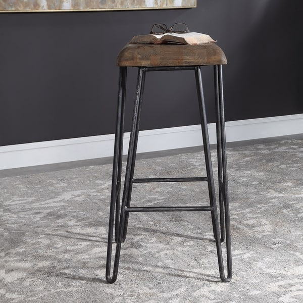 Outstanding Shop Uttermost Albie Aged Black Industrial Bar Stool Free Ncnpc Chair Design For Home Ncnpcorg