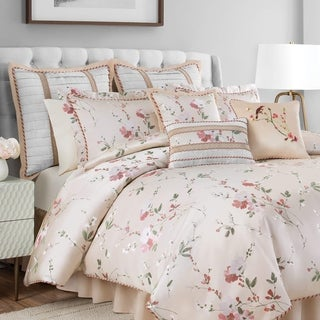 Croscill Blyth Floral Champagne and Blush 4 Piece Comforter Set