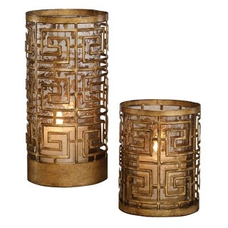 Uttermost Ruhi Antiqued Gold Hurricane Candleholders (Set of 2)