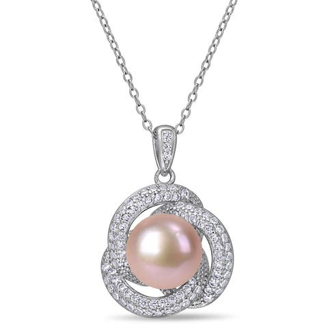 Miadora Sterling Silver Pink Cultured FW Pearl and CZ Swirl Halo Necklace (10-11 mm)