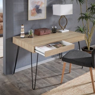 Peyton Wood Finish Desk with Iron Hairpin Legs by iNSPIRE Q Modern