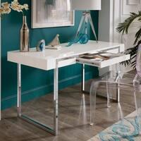 Lykos Stainless Steel Framed White Finish Desk by iNSPIRE Q Modern