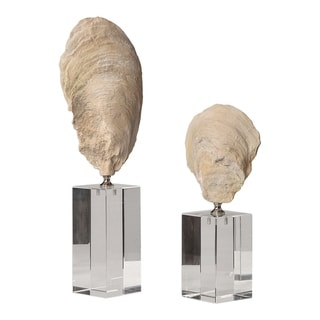 Uttermost Oyster Aged Ivory Shell Sculptures (Set of 2)
