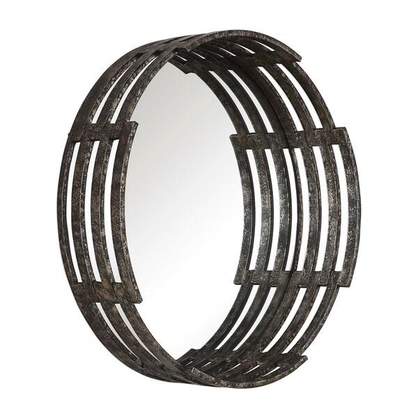 Uttermost Genovia Aged Black Industrial Round Mirror - Antique Black - 31.5x31.5x7.88