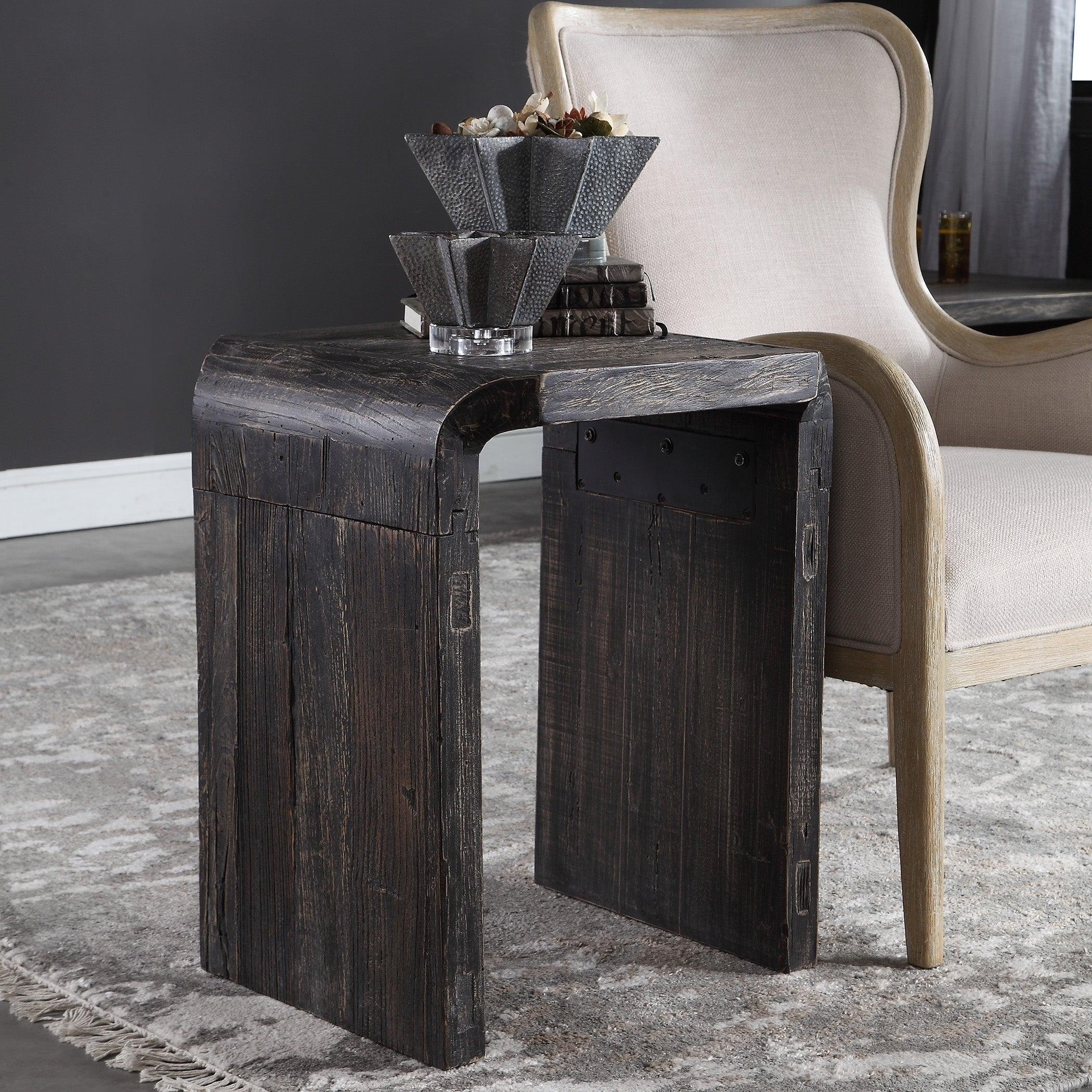 Uttermost Elvin Aged Black Minimalist Side Table