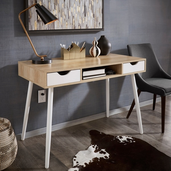 Shop Tobias Two Tone White Metal And Wood Finish Desk By