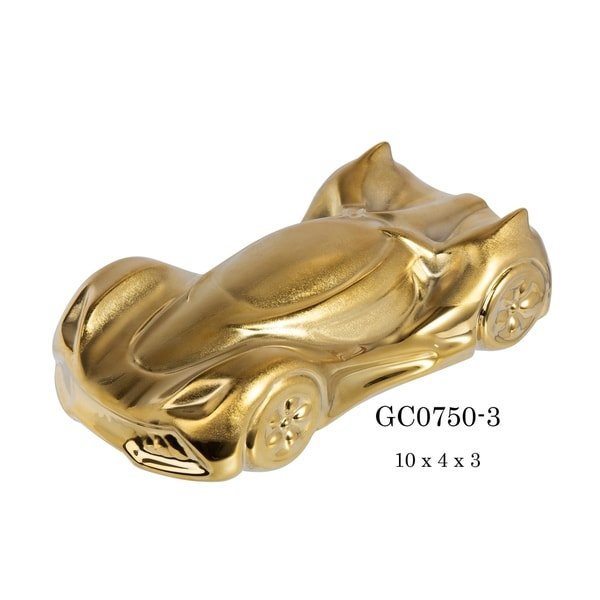 """Sports Racer Porcelain Figurine in Brushed Gold Finish - 10""""L x 4""""D x 3""""H"""