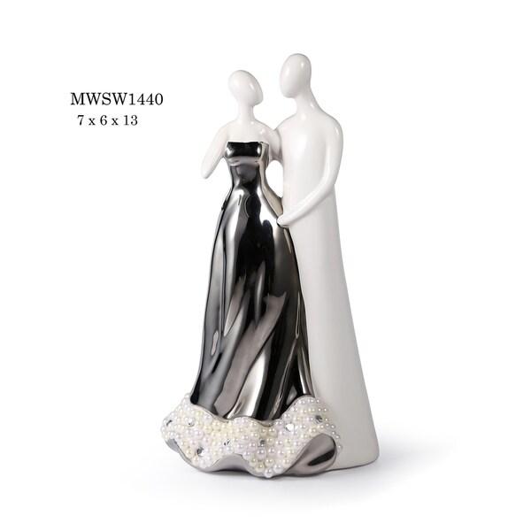 "Matrimony Porcelain Figurine in Polished Gunmetal & White Finish - 7""L x 6""W x 13""H"