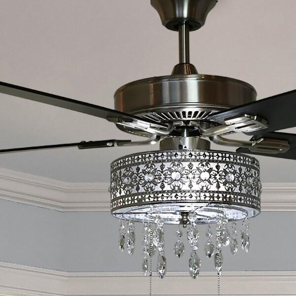 """Chandelier Fans On Sale: Shop 52"""" Roxsie 5-Blade Crystal LED Chandelier Ceiling Fan"""