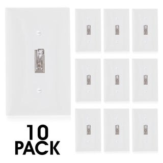 Maxxima Single Pole On/Off Toggle Switch with Indicator Light, Wall Plate Included (10 Pack) - White