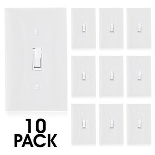 Maxxima 3-Way On/Off Toggle Light Switch, White, Wall Plate Included (10 Pack) - White