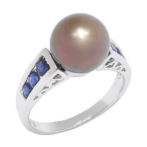 Pearl Lustre Black Tahitian South Sea Pearl Ring with sapphires from Tahiti