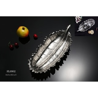 Frond Decorative Porcelain Dish with Polished Chrome Finish