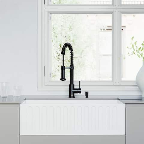 "VIGO All-In-One 33"" Matte Stone White Apron Front Single Bowl Farmhouse Kitchen Sink with Pull-Down Faucet in Matte Black"