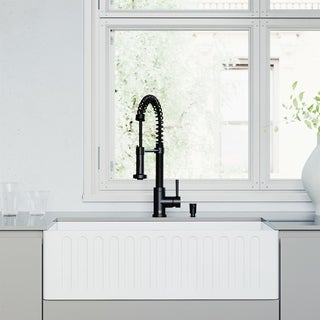 """VIGO All-In-One 33"""" Matte Stone White Apron Front Single Bowl Farmhouse Kitchen Sink with Pull-Down Faucet in Matte Black"""