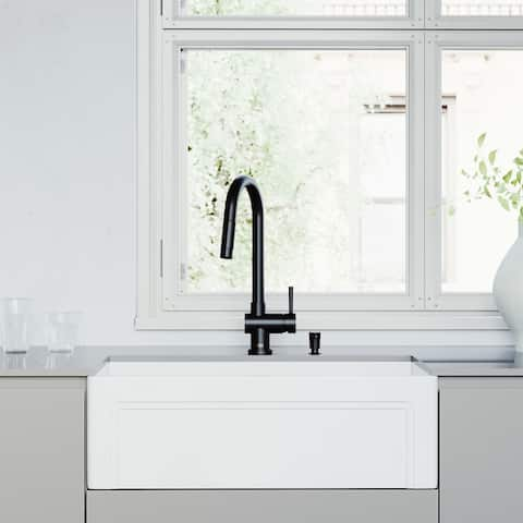 "VIGO 30"" All-in-One Apron Front White Matte Stone Farmhouse Kitchen Sink with Gramercy Pull-Down Faucet in Matte Black"