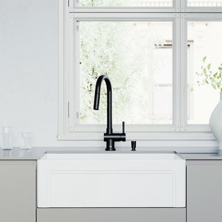 """Link to VIGO 30"""" All-in-One Apron Front White Matte Stone Farmhouse Kitchen Sink with Gramercy Pull-Down Faucet in Matte Black Similar Items in Sinks"""