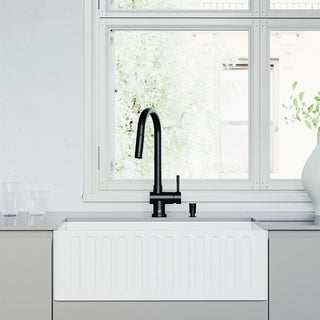 """VIGO 30"""" All-in-One Matte Stone Apron Front Farmhouse Kitchen Sink with Gramercy Pull-Down Faucet in Matte Black"""