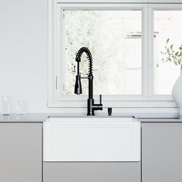 VIGO 24-inch Crown Apron Front Matte StoneTM Farmhouse Sink and Brant Pull-Down Faucet in Matte Black